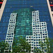 Toronto Metro Hall Reflected In The Cbc Building Poster