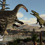Torvosaurus And Apatosaurus Dinosaurs Fighting - 3d Render Poster