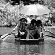 Tourist Boating Thru Tam Coc Bw Poster