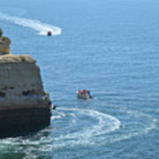 Tourist Boats And Cliffs In Algarve Poster