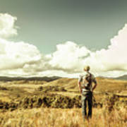 Tourist With Backpack Looking Afar On Mountains Poster