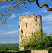 Tower At Chateau De Chinon Poster