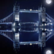 Tower Bridge In London By Night  Poster