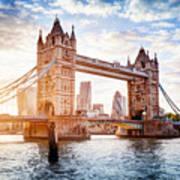 Tower Bridge In London, The Uk At Sunset. Drawbridge Opening Poster