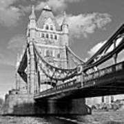 Tower Bridge Vertical Black And White Poster