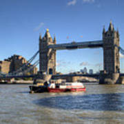 Tower Bridge With Canary Wharf In The Background Poster