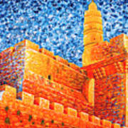 Tower Of David At Night Jerusalem Original Palette Knife Painting Poster