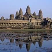 Towers Of Angkor Wat And Lake Poster