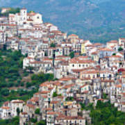Town Clinging To A Hill Top In Southern Italy Poster