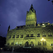 Town Hall At Night In Manchester Poster