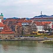 Town Of Maribor Riverfront Panoramic  Poster