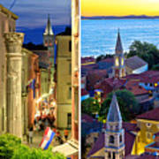 Town Of Zadar Evening And Sunset Travel Collage Poster