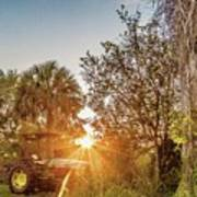 Tractor At Sunset Poster