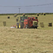 Tractor Bailing Hay In A Field At Harvest Time Pt Poster