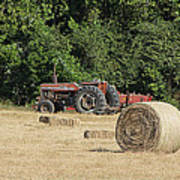 Tractor In The Hay Field Poster