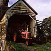 Tractor Parked Inside Of A Round Barn Poster