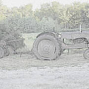 Tractor   Pencil Drawing Poster