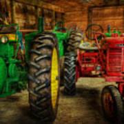 Tractors At Rest - John Deere - Mccormick - Farmall - Farm Equipment - Nostalgia - Vintage Poster