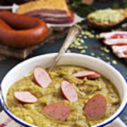 Traditional Dutch Pea Soup And Ingredients On A Rustic Table Poster