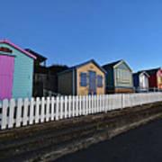 Traditional English Beach Huts Poster