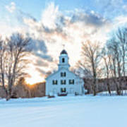 Traditional New England White Church Etna New Hampshire Poster
