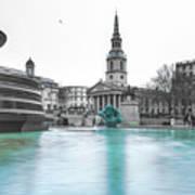 Trafalgar Square Fountain London 3 Poster