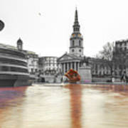 Trafalgar Square Fountain London 3b Poster