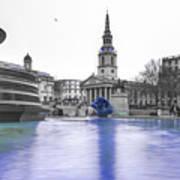 Trafalgar Square Fountain London 3d Poster
