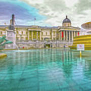 Trafalgar Square Fountain London 4 Poster