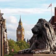 Trafalgar Square Lion With Big Ben Poster