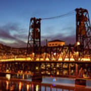 Traffic Light Trails On Steel Bridge Poster