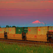 Train And Mount Baker Poster