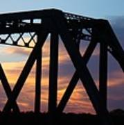Train Bridge Sunset Poster