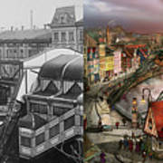 Train Station - Wuppertal Suspension Railway 1913 - Side By Side Poster