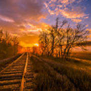 Train Track Sunrise Poster