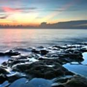 Tranquil Sunrise At Coral Cove Beach Poster