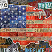Travel The Usa One Plate At A Time License Plate Art By Design Turnpike Poster