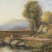 Travelers In A Welsh Landscape Poster