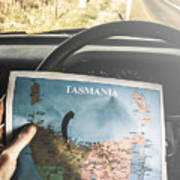 Travelling Tourist With Map Of Tasmania Poster