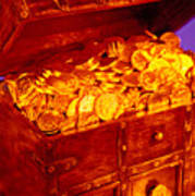 Treasure Chest With Gold Coins Poster by Garry Gay