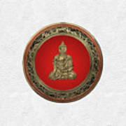 Treasure Trove - Gold Buddha On White Leather Poster