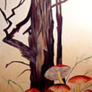 Tree And Mushrooms Poster