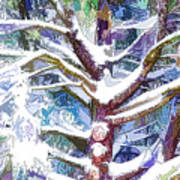 Tree Branches Covered By Snow In Winter Poster