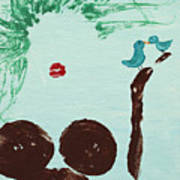 Tree With Blue Birds Poster