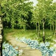 Trees And Flowers Country Scene Poster