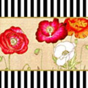 Trendy Red Poppy Floral Black And White Stripes Poster