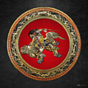 Tribute To Hokusai - Shoki Riding Lion  Poster