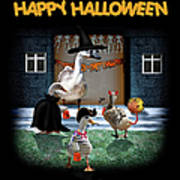 Trick Or Treat Time For Little Ducks Poster