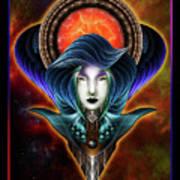 Trilia Red Nebula Fractal Art Portrait Poster
