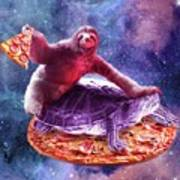 Trippy Space Sloth Turtle - Sloth Pizza Poster